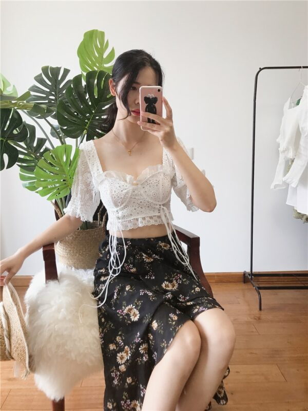 White Lace Crop Top | Joy – Red Velvet