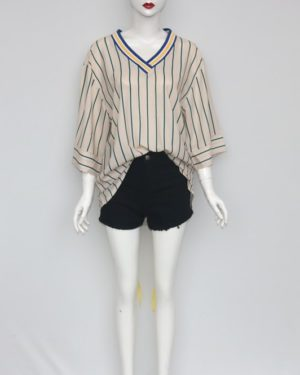 Lisa V-neck Vertical Striped Shirt (2)