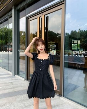 Nayeon Black U-Neck French Dress (8)-min