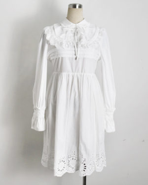 Nayeon Doll Collar Long Sleeve Lace Dress (9)