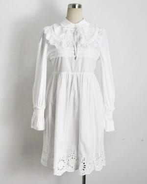 Nayeon Doll Collar Long Sleeve Lace Dress (9)