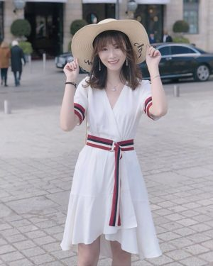 Nayeon Striped Tie Waist White Dress (3)