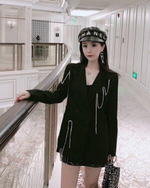 Rose Chain Tassels Black Suit Jacket (2)