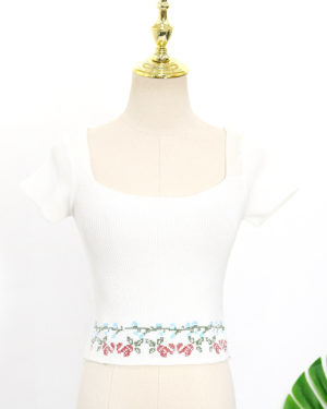 Rose Floral Square Collar Crop Top (1)