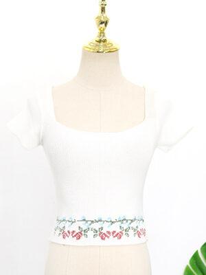 Rose Floral Square Collar Crop Top (1)