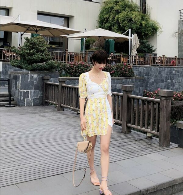 Yellow and White Floral Cherry Dress | Rose – BlackPink