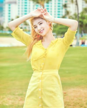 Yellow Openwork Embroidery Blouse | Sana – Twice