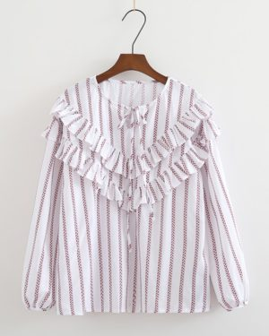 Shuhua Red Striped Ruffles Loose Blouse (12)