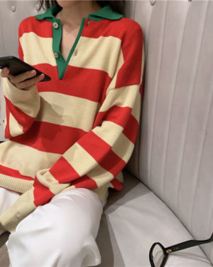 Taehyung Long Sleeved Striped Shirt (2)