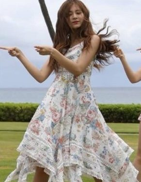 Floral Print Lace Maxi Dress   Tzuyu – Twice