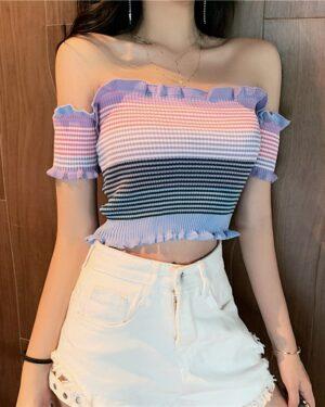 Tzuyu Striped Off-Shoulder Blouse (13)
