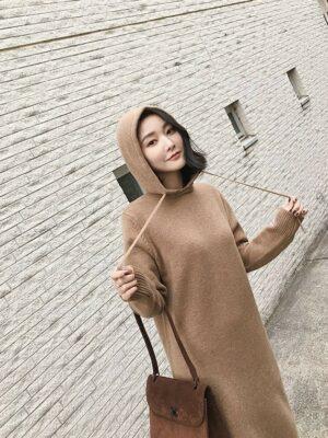 Jennie Autumn Hooded Long Sweater Dress (17)