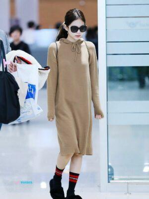 Autumn Hooded Long Sweater Dress | Jennie – BlackPink