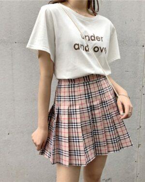 Jisoo Lattice Pleated Plaid Khaki Skirt (5)