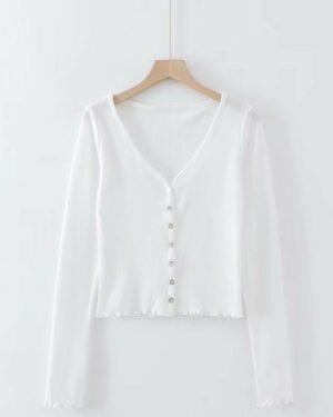 Lisa Low-cut Neckline Buttons Cardigan Shirt (14)