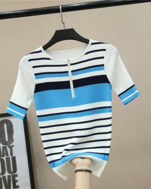 Seulgi Neck Zipper Striped Knit Shirt (7)