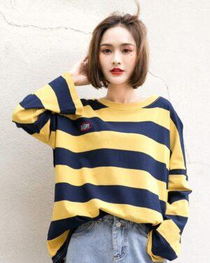 Seulgi Yellow Striped Long Sleeve Shirt (4)
