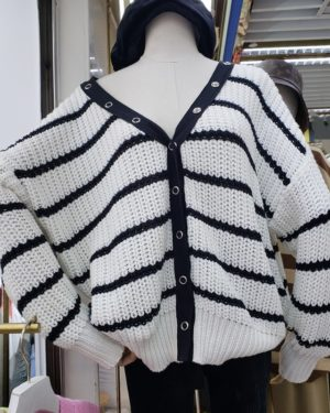 Shuhua White Striped Loose V-Neck Cardigan (1)