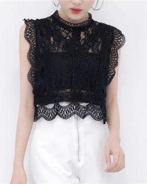 Tzuyu Black Sleeveless Openwork Lace Crop Top (16)