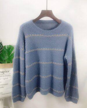 Tzuyu Blue Stitched Striped Sweater (1)