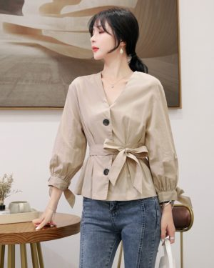 Yuna Retro Long Sleeve Buttons and Ribbon Top (14)