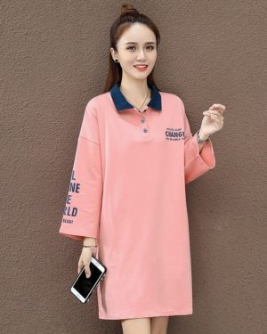Yuqi Girls Change The World Pink Polo Shirt Dress (2)