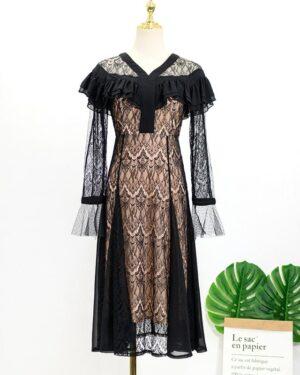 IU Black Lace Dress (7)