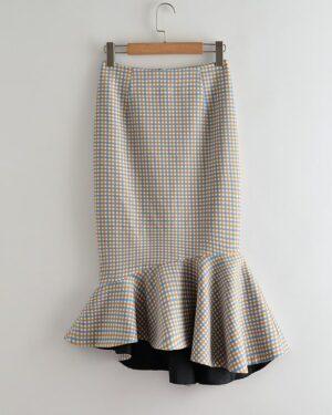 IU Plaid Fish Tail Skirt (2)