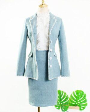 IU Ruffled Blouse, Pastel Blue Blazer & Skirt (4)