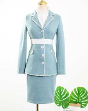 IU Ruffled Blouse, Pastel Blue Blazer & Skirt (6)