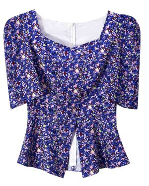 IU Squared Blue Flower Shirt (2)
