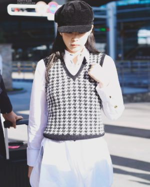 Black and White Houndstooth Vest | Jennie – BlackPink
