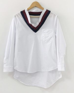 Jennie V-Neck Striped Collar White Shirt (2)