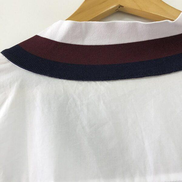 V-Neck Striped  Collar White Shirt   Jennie – BlackPink