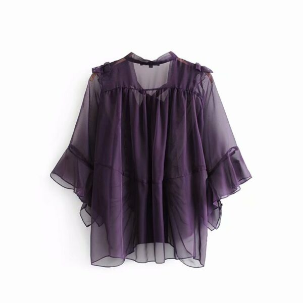 Transluscent Ruffled Ribbon Tie Blouse | Jisoo – BlackPink