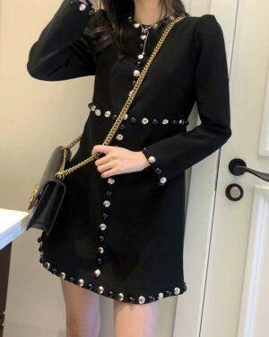 Lisa Beaded Black A-Line Dress