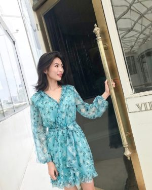 Rose Blue Floral Printed Ruffled Jumpsuit (1)