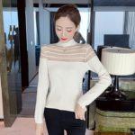 High Collar See-through Mesh Chest Sweater   Sana – Twice
