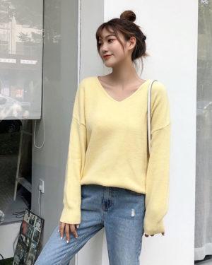 Yeri Light Yellow V-Neck Sweater (1)