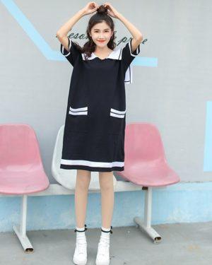 Yuqi Black Sailor Loose Dress (1)