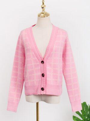 Lisa Pink Plaid Short Cardigan (7)