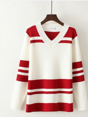 Jeongyeon Red Striped V-Neck Sweatshirt (8)