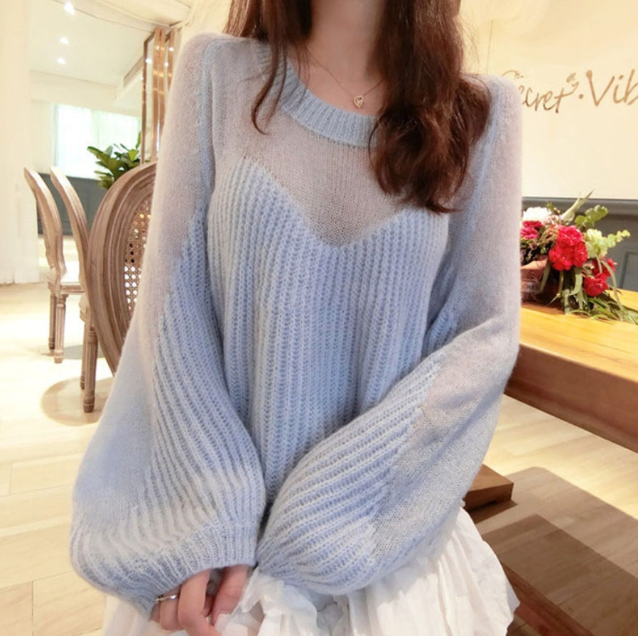 Oversized Partly See through Sweater | Momo Twice