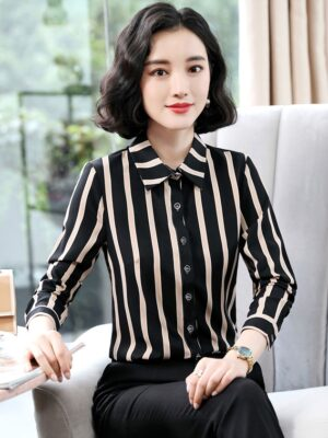 Jungkook Striped Button-down Polo Shirt (8)