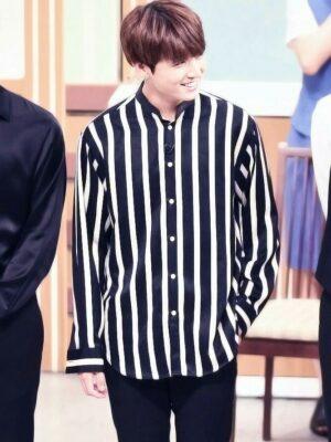 Striped Button-down Polo Shirt | Jungkook – BTS