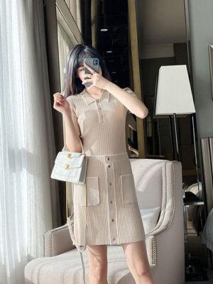 Jennie Tan Rib Knit Short Sleeve Long Sleeve Shirt & Skirt 4