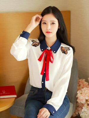 Jennie Twin Bee Embroidered Long Sleeve Shirt 2