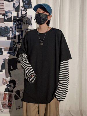 Taehyung Oversized Black Shirt with Fake Sleeves Shirt 00008