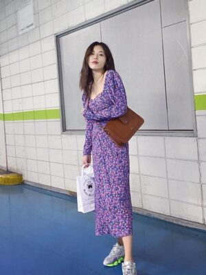 Square Collar Purple Floral Backless Dress | Hyuna