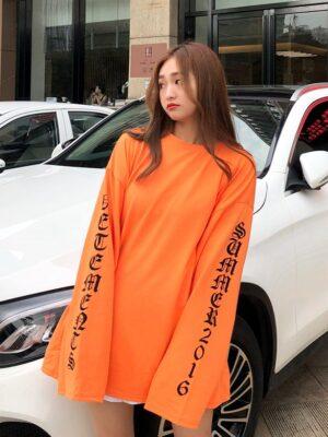 Haechan – NCT Orange Letter Printed Sweater Shirt (8)